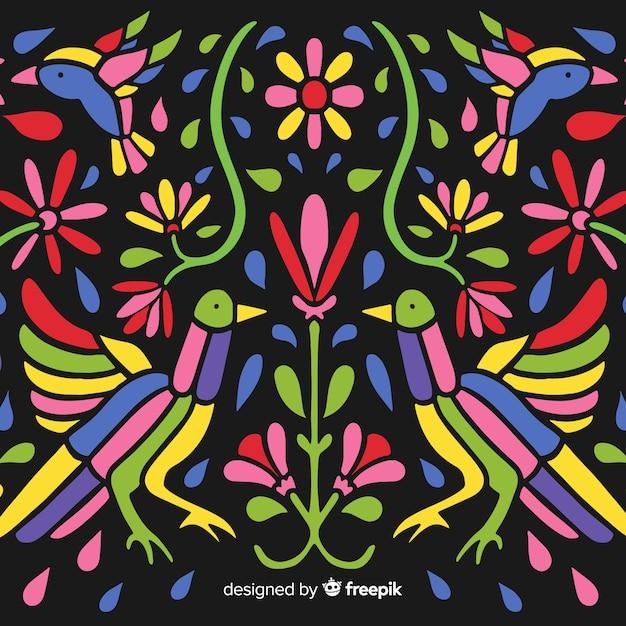 Fondo bordado floral colorido vector gratuito