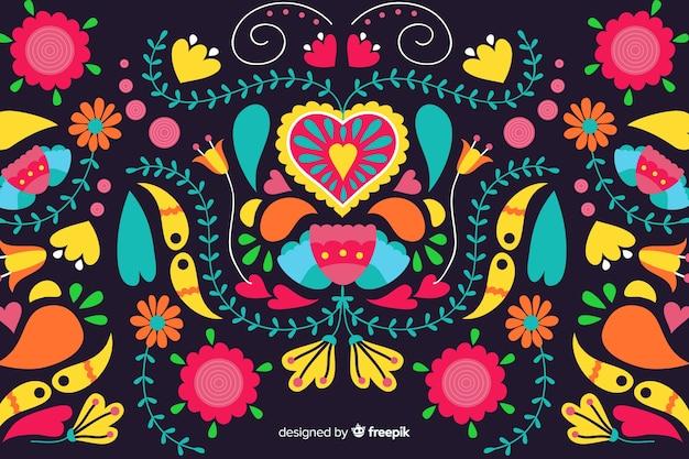 Fondo bordado floral dibujado vector gratuito