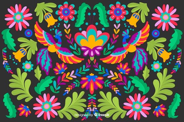 Fondo bordado floral diseño plano vector gratuito