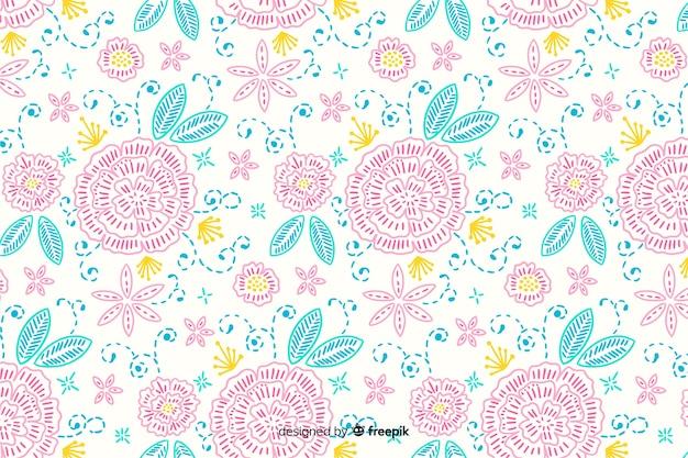 Fondo bordado floral hecho a mano vector gratuito