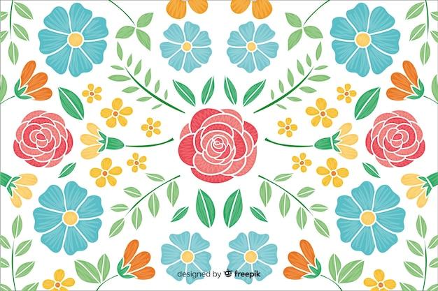 Fondo de bordado de flores vector gratuito