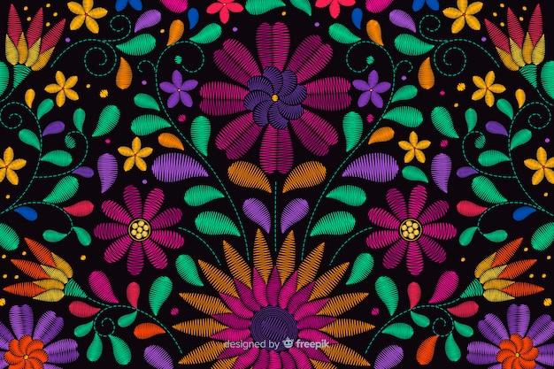 Fondo bordado tradicional mejicano vector gratuito