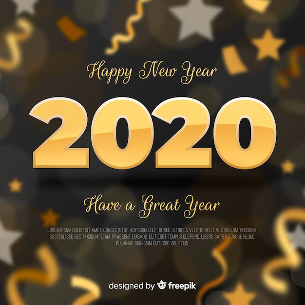Fondo borroso año nuevo 2020 vector gratuito