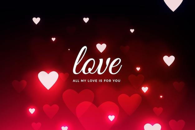 Fondo borroso de san valentín negro con corazones rojos vector gratuito