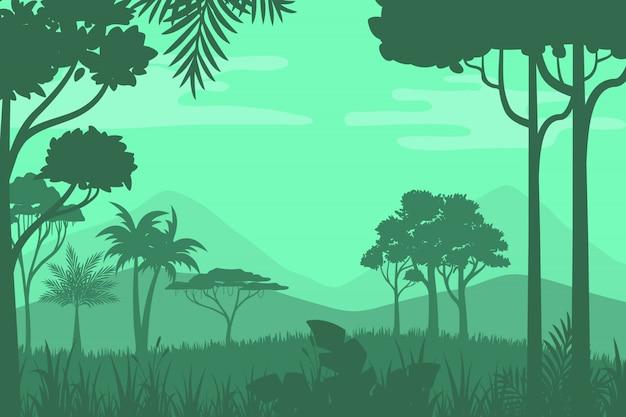 Fondo de bosque de silueta Vector Premium