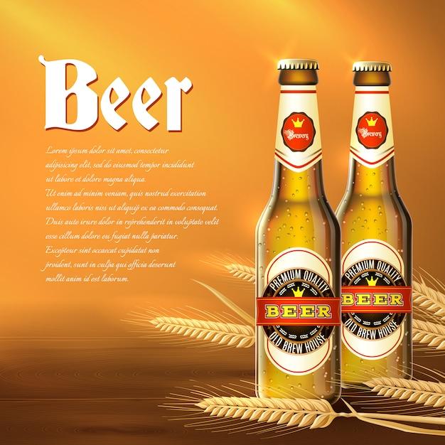 Fondo de botella de cerveza vector gratuito