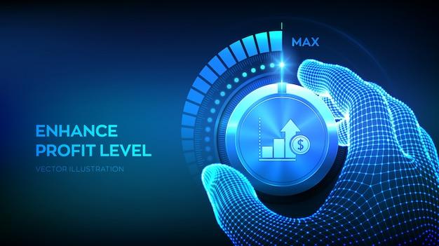 Fondo de botón de mando de niveles de beneficio Vector Premium