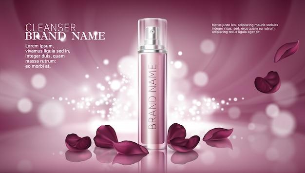Fondo brillante de color rosa con productos cosméticos hidratantes premium vector gratuito