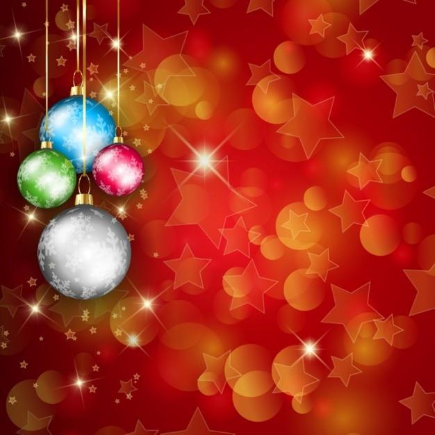 fondo brillante con bolas de navidad coloridas vector gratis