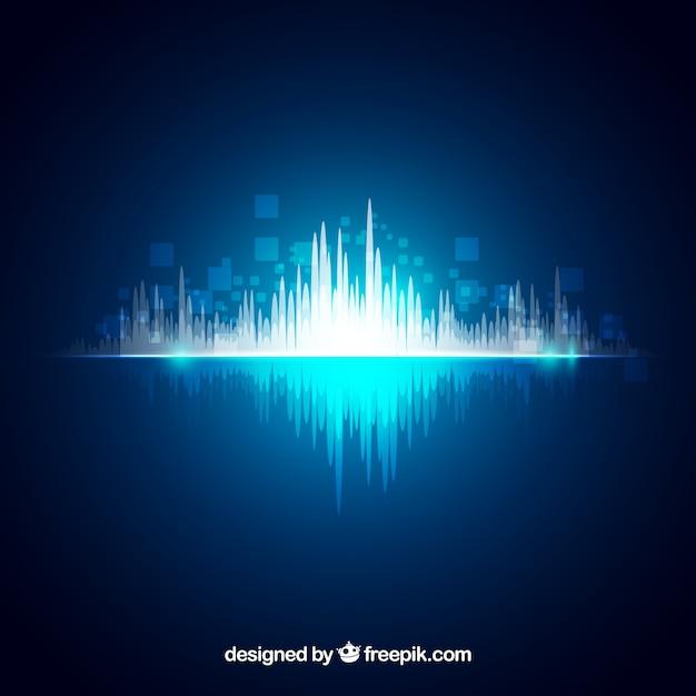 Fondo brillante con onda sonora abstracta vector gratuito