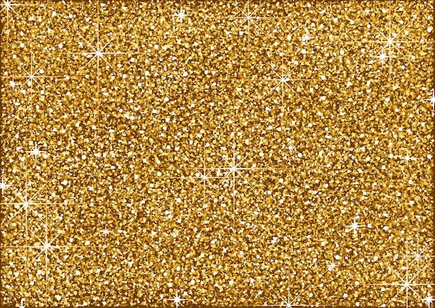 Fondo de brillo dorado brillante con estrellas Vector Premium