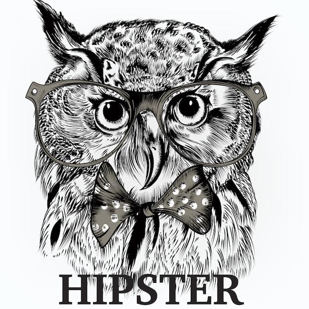 Fondo de búho hipster vector gratuito