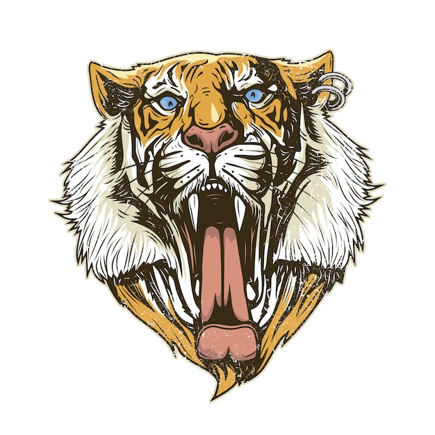 Fondo con cabeza de tigre vector gratuito
