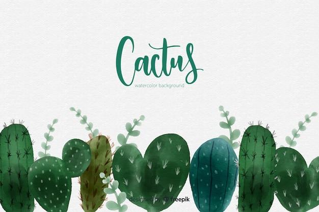 Fondo de cactus en acuarela vector gratuito