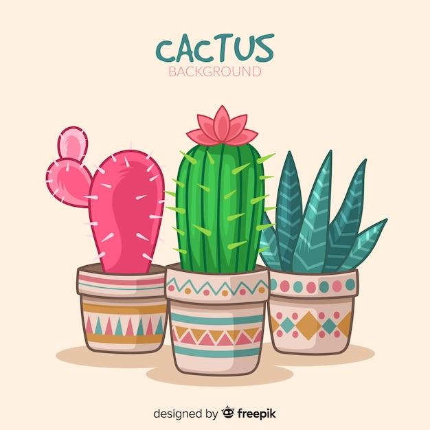 Fondo de cactus dibujado a mano Vector Premium