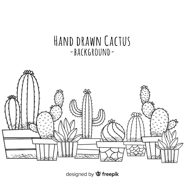 Fondo de cactus dibujado a mano vector gratuito