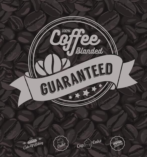 Fondo de café etiquetas y granos de café Vector Premium