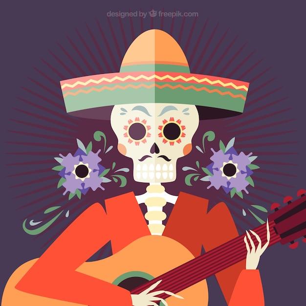 Fondo De Calavera Mexicana Con Sombrero Y Guitarra Descargar