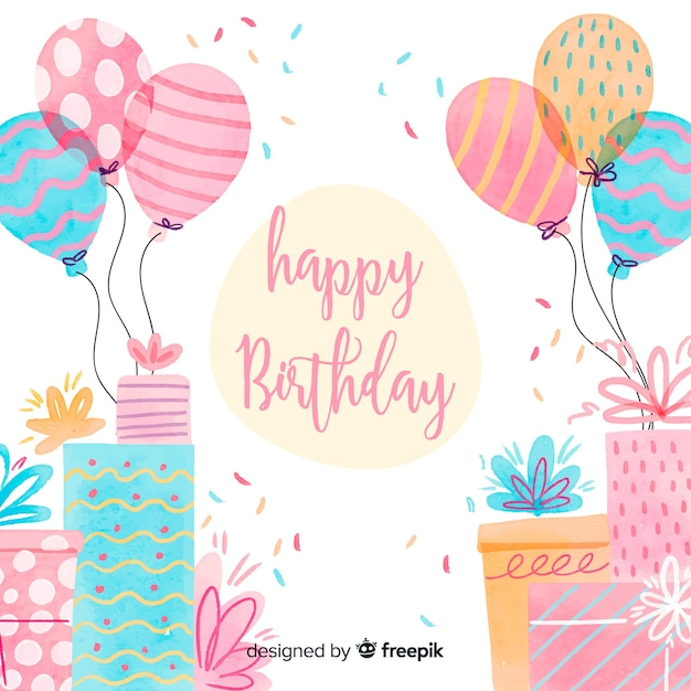 Fondo de caligrafía de feliz cumpleaños en acuarela vector gratuito