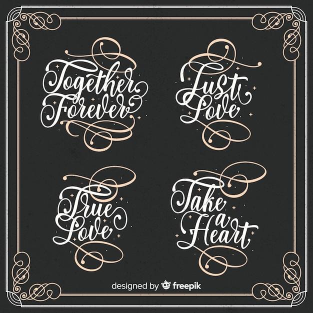 Fondo caligráfico de boda vector gratuito