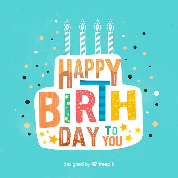 Fondo caligráfico colorido de feliz cumpleaños vector gratuito