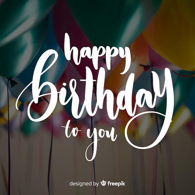 Fondo caligráfico de cumpleaños vector gratuito