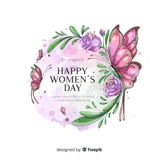 Fondo caligráfico del día de la mujer en acuarela vector gratuito