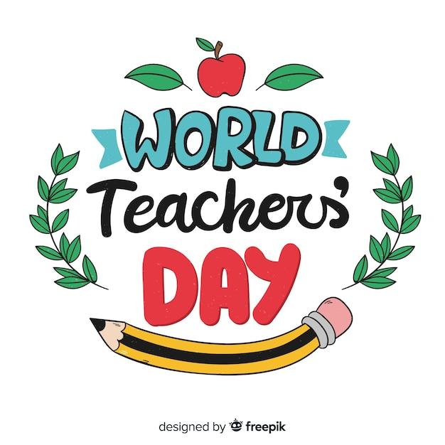 Fondo caligráfico del día mundial del profesor vector gratuito