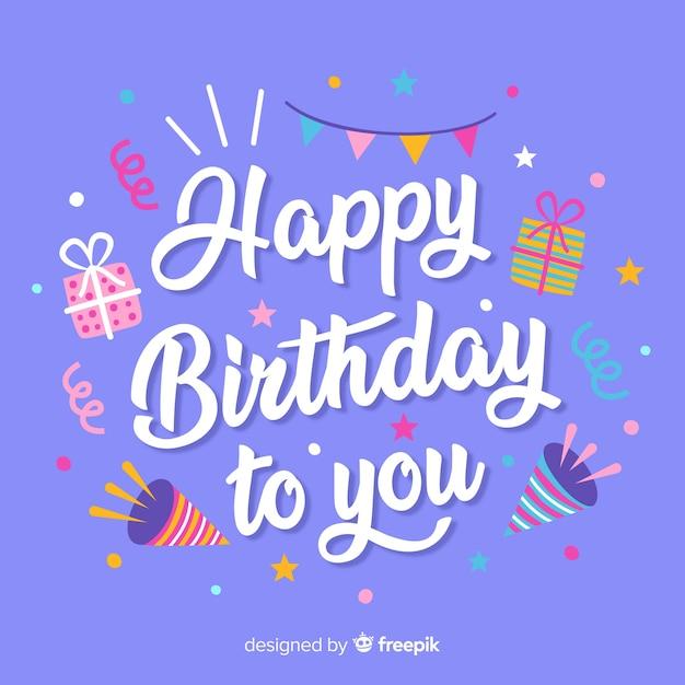 Fondo caligráfico de feliz cumpleaños con elementos vector gratuito