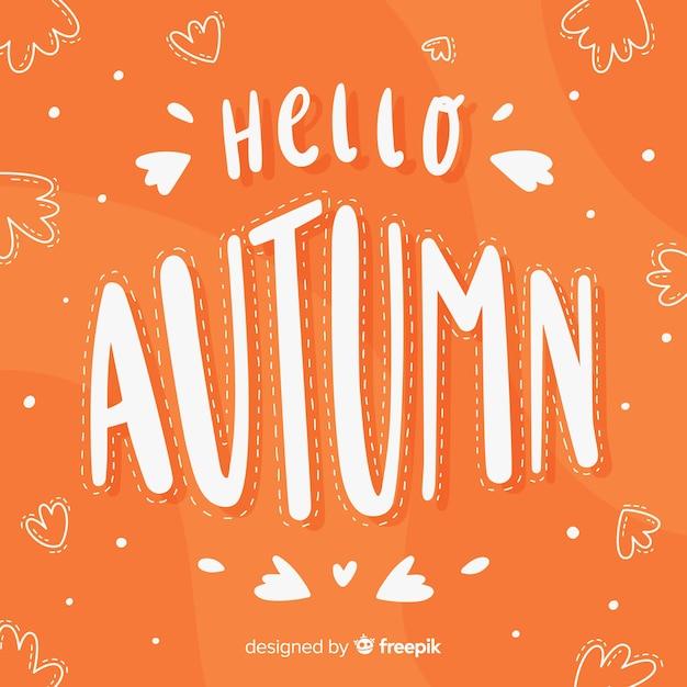 Fondo caligráfico de hello autumn dibujado a mano vector gratuito
