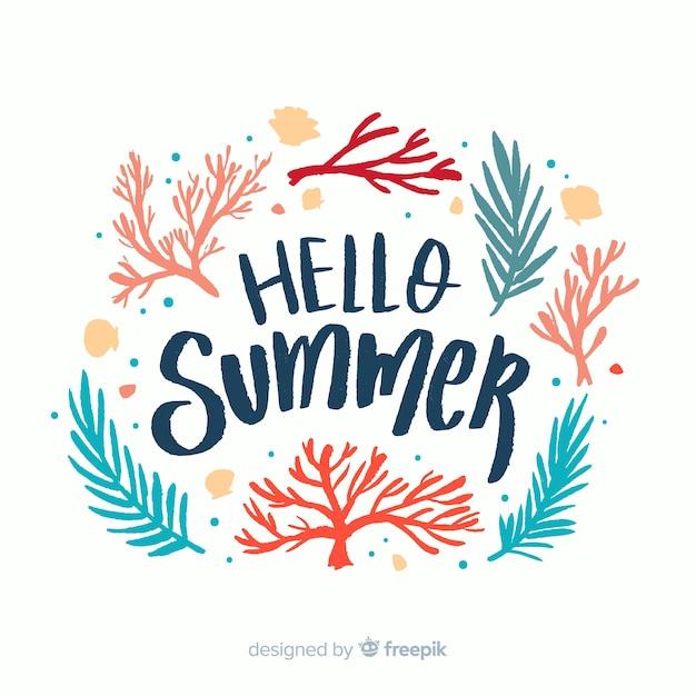 Fondo caligráfico de hello summer vector gratuito