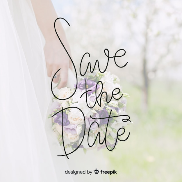 Fondo caligráfico save the date con foto vector gratuito