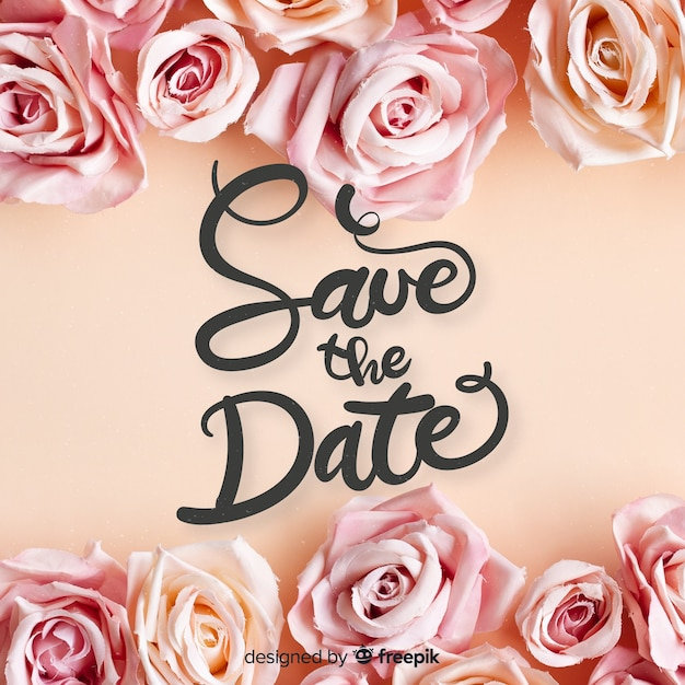 Fondo caligráfico save the date con foto vector gratuito