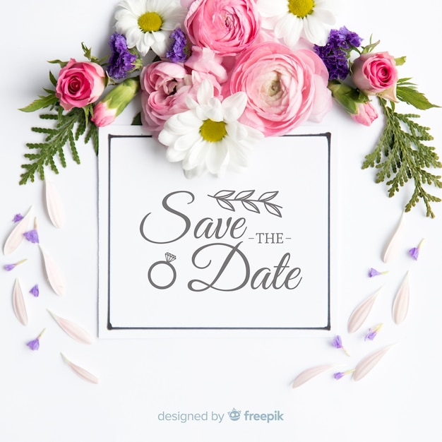 Fondo caligráfico save the date con fotografía vector gratuito