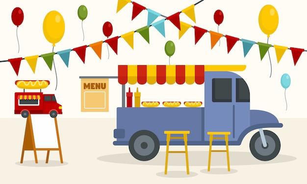 Fondo de camiones de comida callejera Vector Premium