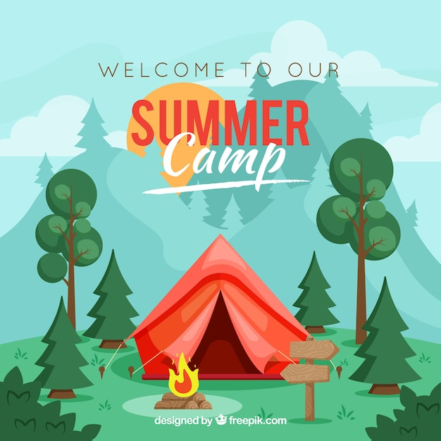 Fondo de campamento de verano con tienda de campaña roja vector gratuito