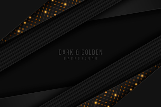 Fondo de capas de papel oscuro con detalles dorados vector gratuito