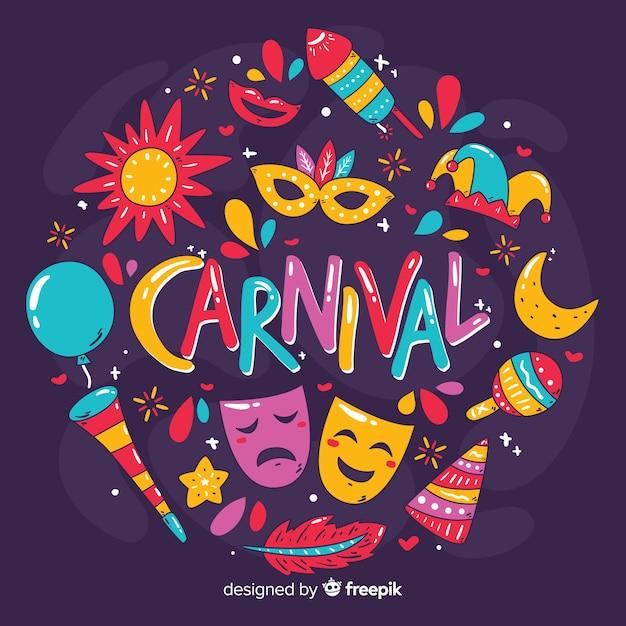 Fondo de carnaval dibujado a mano vector gratuito