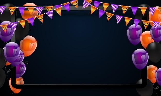 Fondo del carnaval de halloween, globos de color naranja púrpura Vector Premium