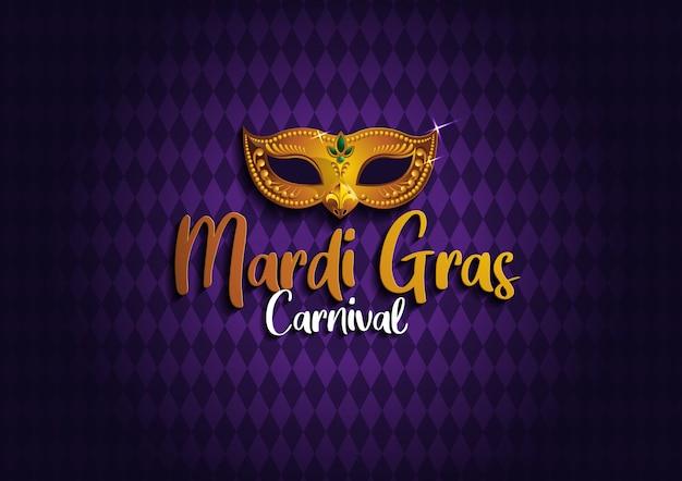 Fondo de carnaval con máscara de oro Vector Premium