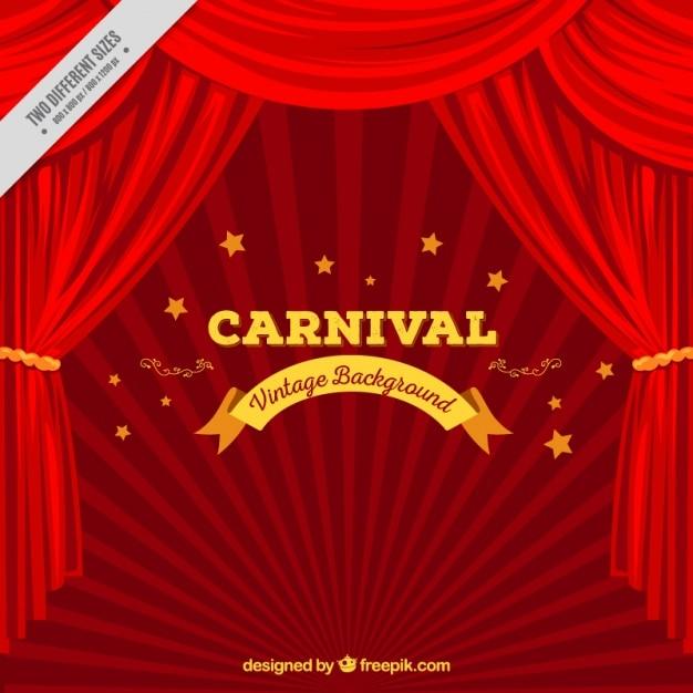 Fondo de carnaval con telón en tonos rojos Vector Premium