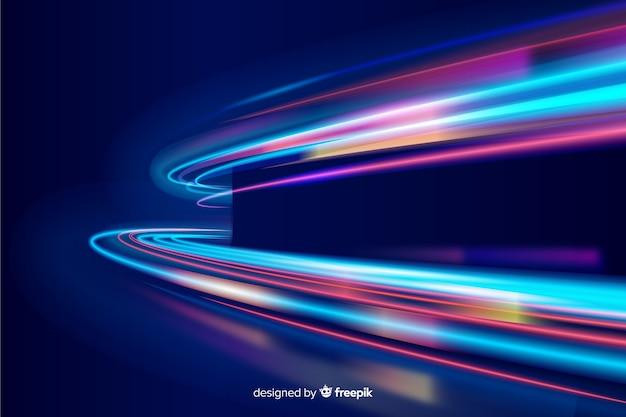 Fondo carril curvas luces neón coloridas vector gratuito