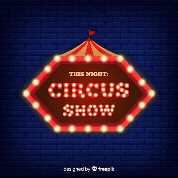 Fondo cartel del circo de neón vector gratuito