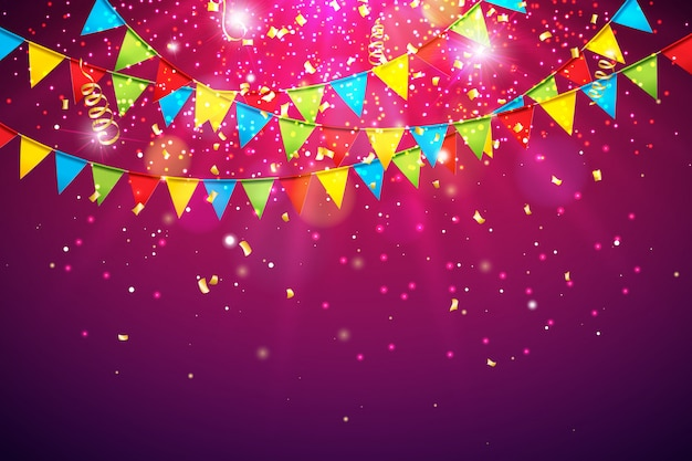 Fondo de celebración con bandera de fiesta colorida y confeti cayendo Vector Premium