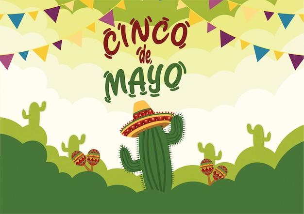 Fondo de celebración del cinco de mayo con cactus e instrumentos musicales tradicionales Vector Premium