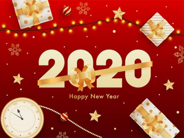 Fondo de celebración de feliz año nuevo 2020 con vista superior del reloj, cajas de regalo y guirnalda de iluminación decorada en rojo. Vector Premium