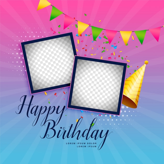Fondo de celebración feliz cumpleaños con marco de fotos | Descargar ...