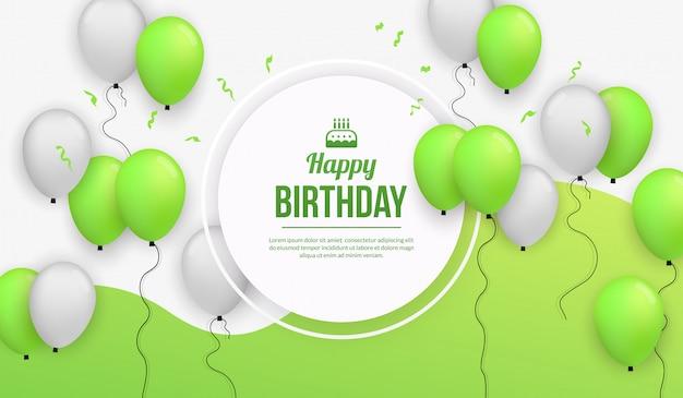 Fondo de celebración de fiesta de cumpleaños con globo realista Vector Premium