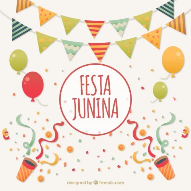 Fondo de de celebración de fiesta junina Vector Premium