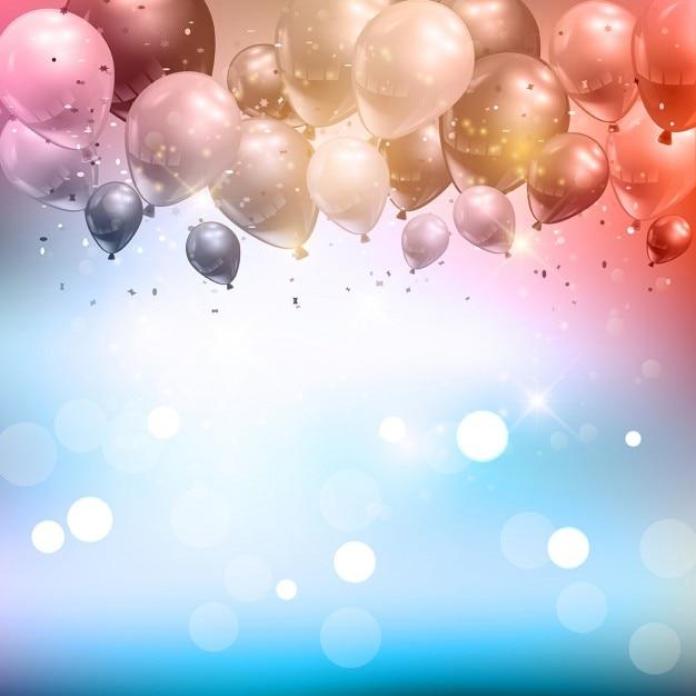 Fondo de celebración de globos y confeti  5e64fbca038